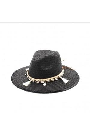 Chapeau à pompons noir