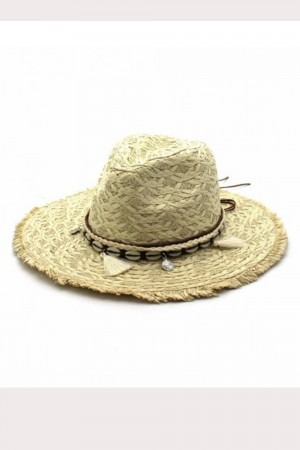 Chapeau à pompons beige