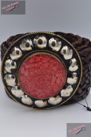 Ceinture cuir tressée boucle décorative