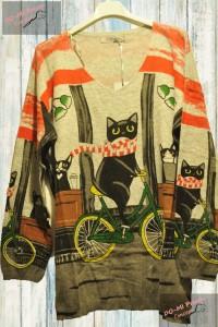 Pull Mon chat fait du vélo fond gris