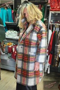 Manteau laine à carreaux - Cécile Wang