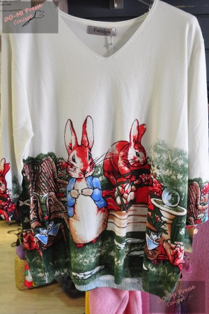 "Pull Caitlyn ""Petits lapins"" - blanc"