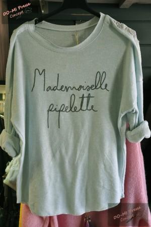 Pull Mlle Pipelette vert amande