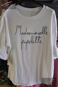 Pull Mlle Pipelette blanc