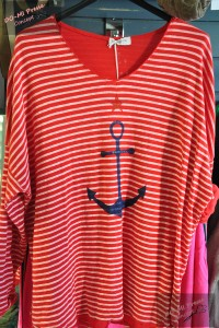 "T-shirt manches longues ""Ancre marine"" rouge"