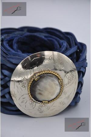 "Ceinture cuir tressé boucle décorative ""marine"""
