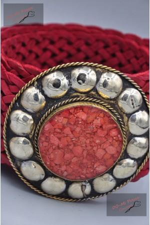 """Ceinture cuir tressé large, boucle décorative """"rouge"""""""