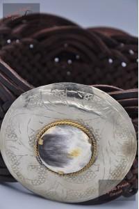 """Ceinture cuir tressé large, boucle décorative """"marron"""""""