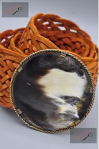 """Ceinture cuir tressé large, boucle décorative """"orange"""""""