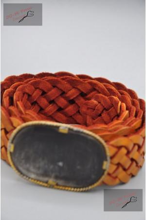 "Ceinture cuir tressé fine, couleur ""orange"""