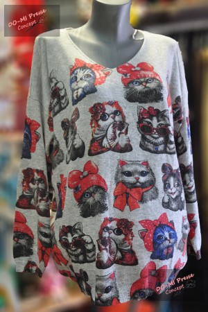 """Pull Caitlyn """"Multi chattes"""" fond gris"""