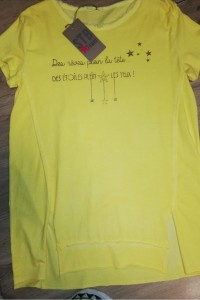 Tee-shirt jaune message doré Stelly Bianchi